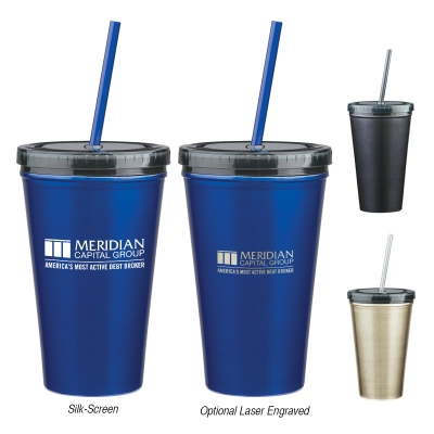 16 Oz. Stainless Steel Double Wall Tumbler With Straw